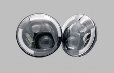 2x7 inch LED headlights black SET